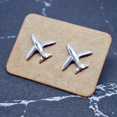 Aeroplane Studs -  Handmade Sterling Silver Earrings