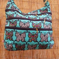 Sling Satchel - Turqoise Butterfly Dreams