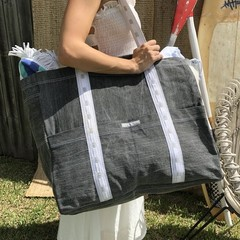 Beach Bag- Jumbo Vintage grey stonewashed denim