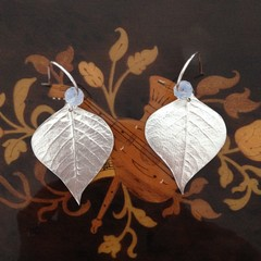 Recycled Silver Leaf and Opalite Moonstone Earrings