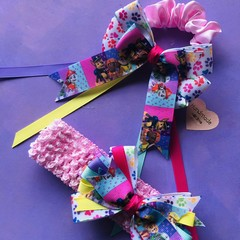 Girls/ toddlers handmade super cute paw patrol inspired hair bow accessories gif