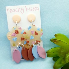 Transparent Terrazzo - Peach top, patterned flower and petal trio