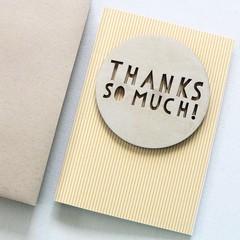 4 Handmade Thank You Cards, Teacher Thank You Card, Wood Thankyou Card