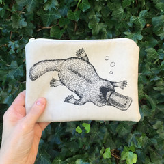 Screen printed platypus purse