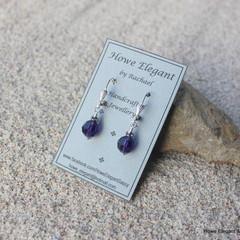 Purple Swarovski crystals with grey, Sterling Silver, dangle earring