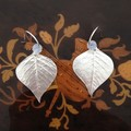 Recycled 99.9% silver Leaf and Opalite Moonstone Earrings