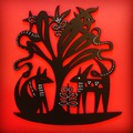 Animal Tree woodcut