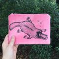 Screen printed platypus purse