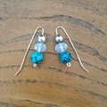 Turquoise, opalite moonstone and recycled silver earrings