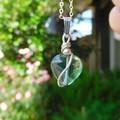 Rainbow Fluorite heart pendant, Sterling silver dangle gemstone pendant