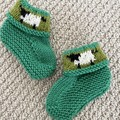 Green sheep  booties - Hand knitted in Pure Wool