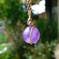 Amethyst pendant, natural purple gemstone, 14k gold fill wire wrapped
