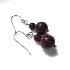 Garnet rounds earrings, Sterling silver two bead earrings