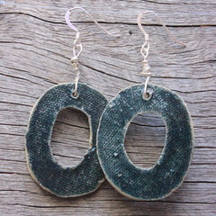 Unique handmade ceramic earrings midnight blue hoops. Great gift idea.
