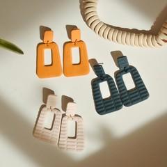 Textured Clay Statement Earrings / Polymer Clay Earrings / Geometric Hoops