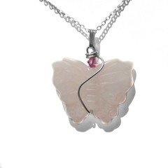 Large Rose Quartz butterfly pendant, Sterling silver wire wrapped