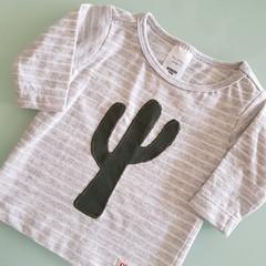Baby Boys Cactus Tee - Grey Long Sleeve Size 0000, 000 & 00