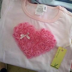"""My Love"" Baby Girls Pink Stripe Heart Shirt - Size 00"