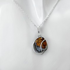 Pietersite gemstone pendant, Sterling silver wire wrapped