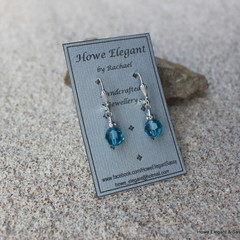 Teal Swarovski crystals with AB crystals, Sterling Silver, dangle earring