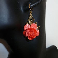 Red rose and gold drop earrings