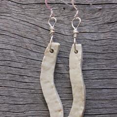Unique handmade ceramic earrings in cream white. Great gift idea.