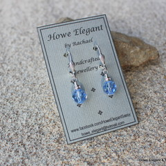 Pale Blue Swarovski crystals with AB crystals, Sterling Silver, dangle earring