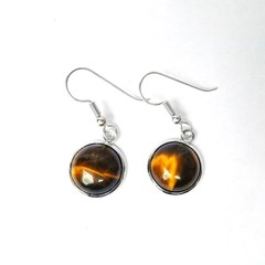 Tiger eye round cabochon earrings silverplated