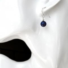Lapis Lazuli earrings, Sterling silver deep blue gemstone