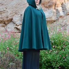 Short Forest Green Wool Blend Cloak