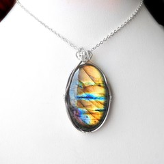 Large Labradorite pendant, unisex Sterling silver wire wrapped pendant