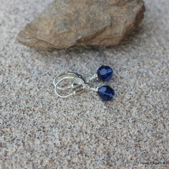 Dark Blue Swarovski crystals with AB crystals, Sterling Silver, dangle earring