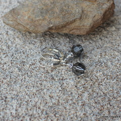 Grey Swarovski crystals with AB crystals, Sterling Silver, dangle earring
