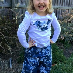 Girls Floral Navy Harem Pants Set Size 5