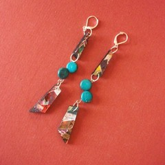 Orient 2 - Collage eardrop with turquoise bead