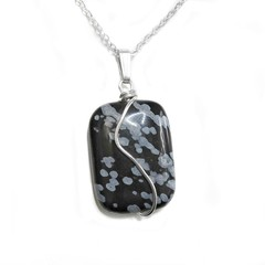 Snowflake Obsidian pendant Sterling silver wire wrapped