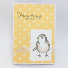 Thinking of You Card - Yellow with dots, Bird