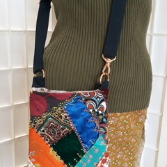 Luxury patchwork beaded phone bag