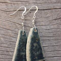 Unique handmade ceramic earrings. Great gift idea. Midnight sky blue.