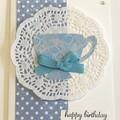 Teacup Birthday Handmade Card - FREE POST
