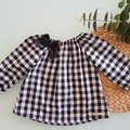 Girls Black and White Gingham Peasant Top Size 3 & 6