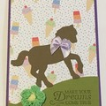 Pony horse  Kids Birthday Handmade Card - FREE POST