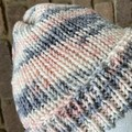 Ladies knitted merino pink grey and cream beanie unisex