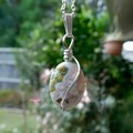 Ocean Jasper pendant, natural gemstone, Sterling silver wire wrapped