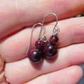 Garnet rounds earrings, Sterling silver two bead earrings