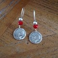 Recycled Silver Koi Carp Earrings with red glass and silver beads
