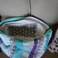 Patchwork tote with zipper in beautiful blend of teal and silver grey fabric