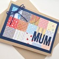 Mum Card - Patchwork Paper, Kraft and blue