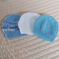 *Special * 3 beanies: (0-6mths): Washable, boy, soft, winter