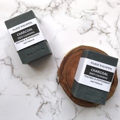 Handmade Soap - Shea Butter Charcoal/Tea tree/Peppermint